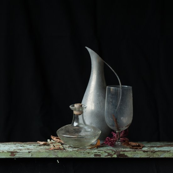 Still life photografy,glass and tin